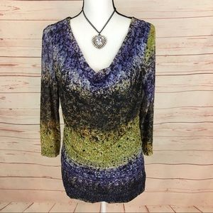 Leo & Nicole Abstract Cowl Neck Blouse